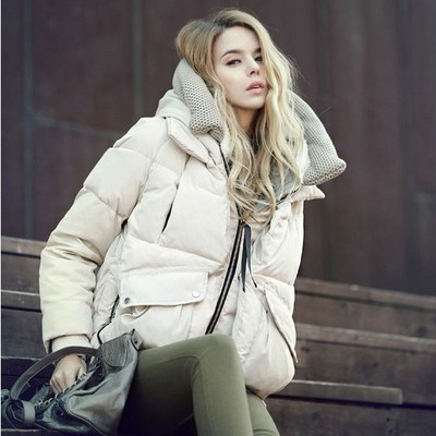 Women winter cloth short design loose casual duck   down     coat   with a hood ladies warm parkas beige ivory army green plus big size