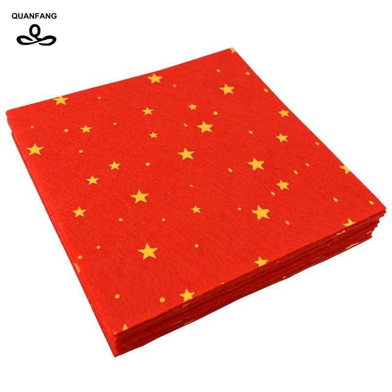 QUANFANG 20 pz/lotto Stampato stella del modello di tessuto Non Tessuto In Feltro 1 millimetri Grossezza Poliestere Panno di Decorazione Della Casa per il Cucito materia