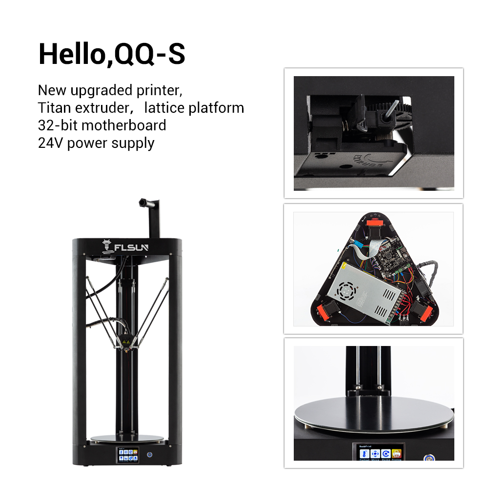 2019 NEW 3D Printer Kossel Flsun QQ-S Auto Leveling Lattice HeatBed Pre-assembly Delta Titan Touch Screen Wifi 32bits motherboad 7