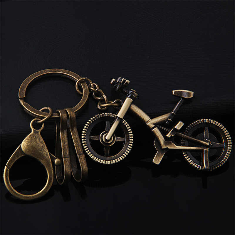 Retro Bronze Bicycle Key Ring Pendant Small Cute Little Deer Key Chain Fashion Hat Key Ring Personal Car Keychain Couple Gift