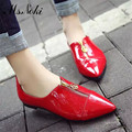 Ms.Noki  spring fashion chain ponited toe women pumps casual wedges lader high heel shoes Antiskid solid zip female single pumps