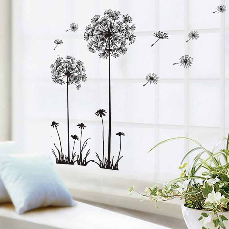 Buy black beautiful dandelion wall - Beautiful wall stickers for living room ...