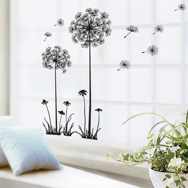 Black Beautiful Dandelion Wall Stickers Living Room Bedroom Dream Of Flying Home Decor Sticker