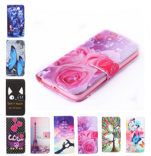 New two side Painted wallet Phone cover Rose Flower Tower pattern Leather Case For Sony Xperia Z1 mini D5503 M51W Z1 Compact
