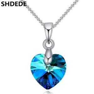 Кулон в виде сердца SHDEDE с кристаллами Swarovski, для женщин и девочек, Подарочная цепочка, украшения для детей + * 50