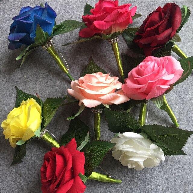 992c63319c5ce WeddingBobDIY Artificial PU White Rose Groom Boutonniere Wedding party men  Corsage Prom pin brooch Lapel Flower Decoration