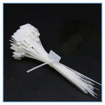 50 sztuk Nylon Tie Tags samoblokujący kabel sieciowy Zip wykończenia Wrap drut pętli paski etykiety