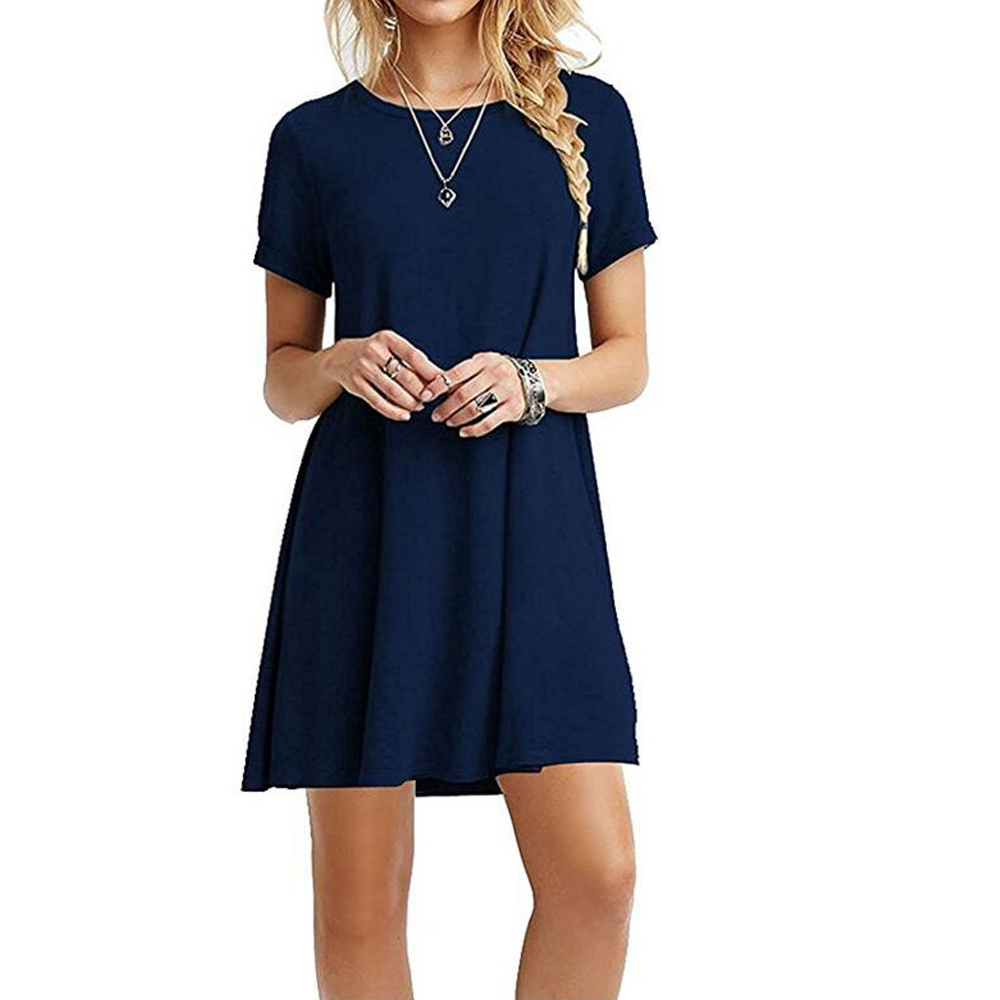Initialdream 2017 summer women simple casual dress short for Solid color short sleeve dress shirts