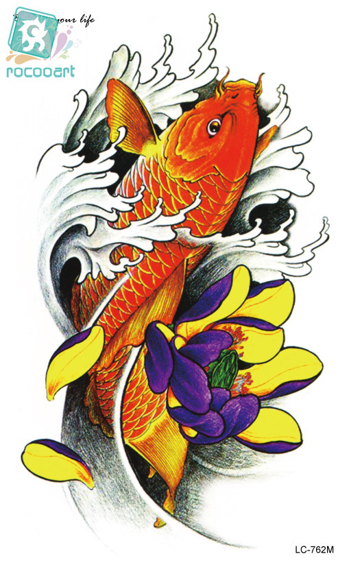 Rocooart LC2762M 21*13cm Women Large Big Tatoo Sticker Sketch Green Fish Drawing Cool Temporary Tattoo Stickers High Resolution