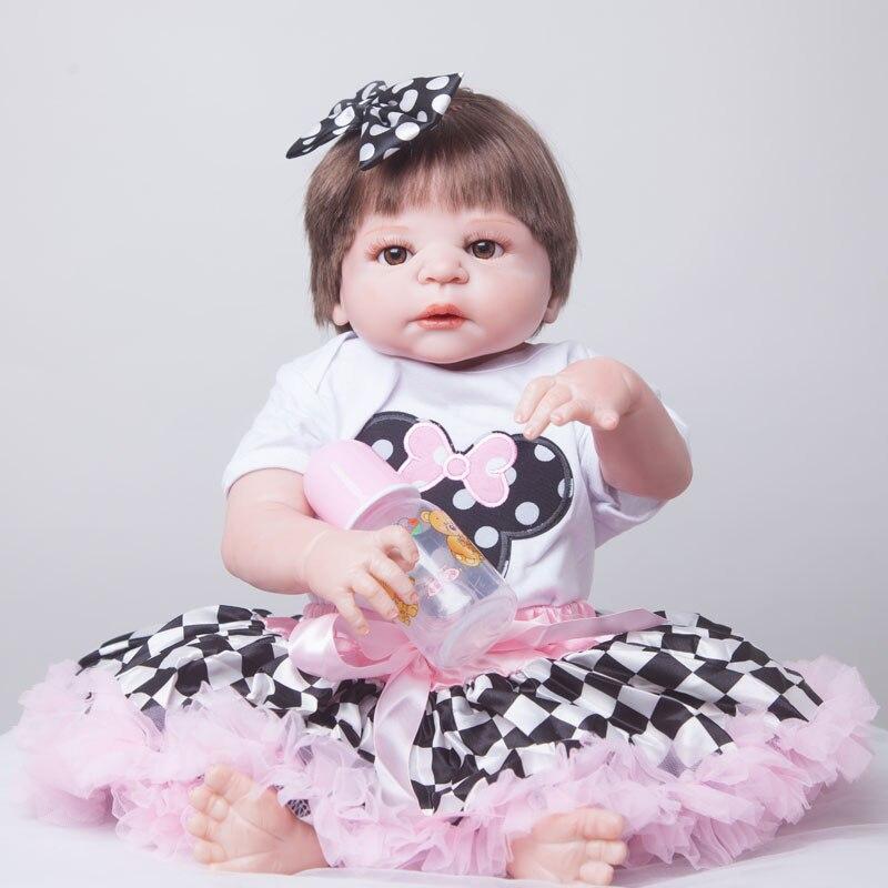 55 см всего тела силикона Reborn Baby Doll игрушки Реалистичные играть дома игрушки для новорожденных девочек Детские Рождественский подарок на де...