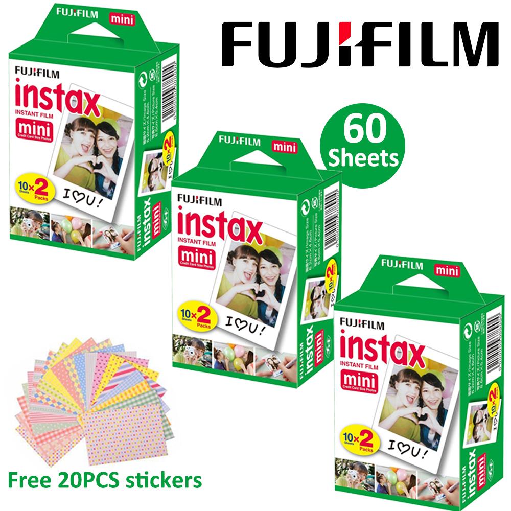 Prix pour 60 feuilles fujifilm fuji instax mini 8 film pour polaroid instantané mini 7 s 25 50 s 90 caméra fuji instax blanc bord photo papier film