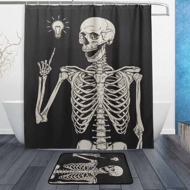 Funny Human Skull Shower Curtain And Mat Set Skeleton Good Idea Waterproof Polyester Bathroom