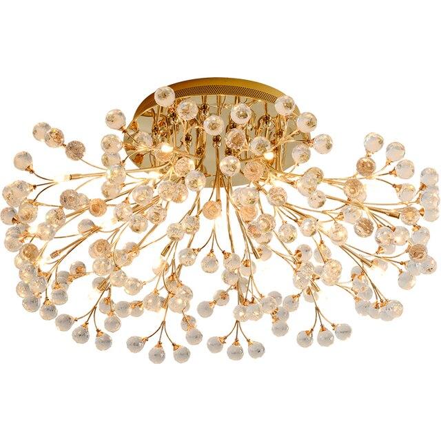 European round living room headlight crystal lamp creative American restaurant modern minimalist led ceiling lamp golden bedroom