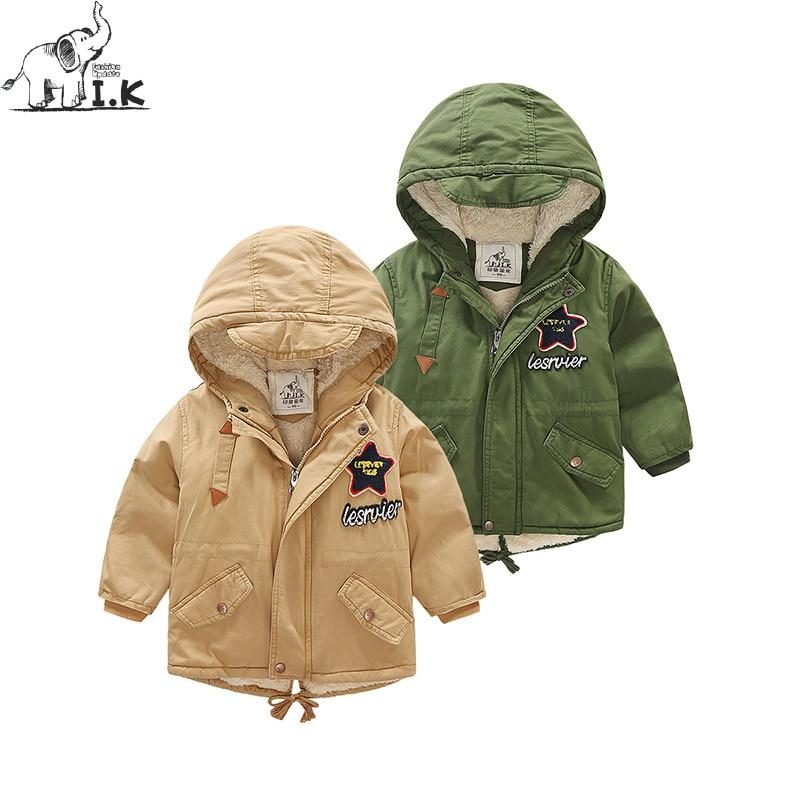 IK Infant boy plus velvet long zipper hoodie Parka Baby Kids jacket Children warm overall MY25012 Winter Christmas
