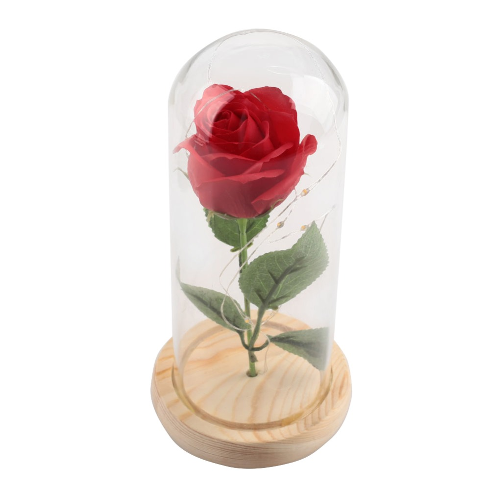 Artificial Flowers Glass Cover Eternal Rose Flower Led Light Floral Preserved Fresh Luminescent Valentines Day Gift Home & Garden Festive & Party Supplies