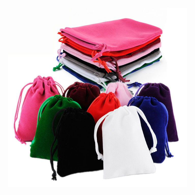 100Pcs/lot 5*7cm Velvet Drawstring Pouch Bag With Jewelry Bag Christmas Wedding Gift Bags & Pouches With Velvet Bags Wholesale