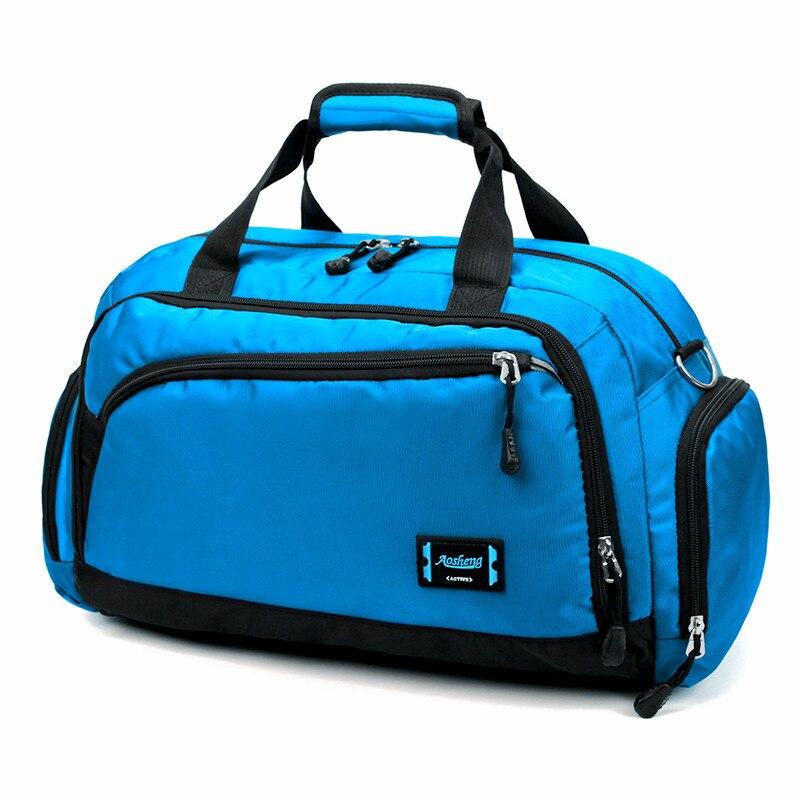 Лидер продаж, водонепроницаемая нейлоновая сумка для путешествий, Мужская модная сумка для переноски на выходные, винтажные повседневные спортивные сумки на плечо, женская сумка для сна - Цвет: Небесно-голубой