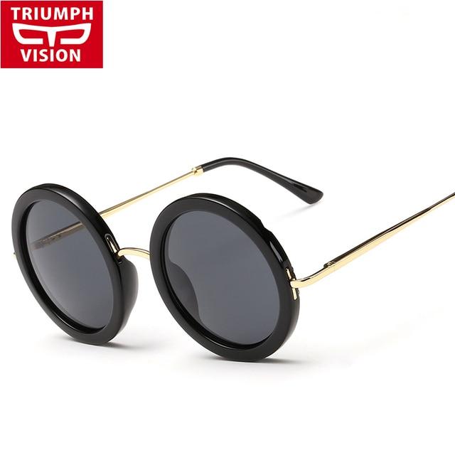 5931ec22b3d TRIUMPH VISÃO Preto Das Senhoras Rodada Óculos De Sol Das Mulheres Óculos  de Marca Designer de