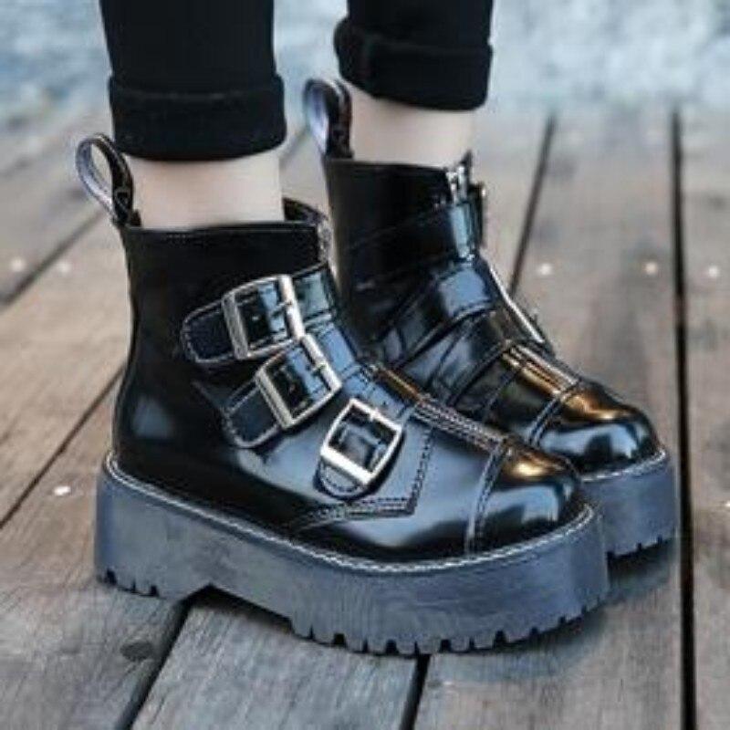 US $37.62 14% OFF Neue Damen Gothic Rock Plattform Schuhe Retro Frau Motorrad Stiefeletten Multi Schnalle Zip Punk Schuhe Schwarz Kostenloser