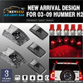 KEYECU 5pcs Black Smoked Lens Cab Roof Marker Lights Roof Top Lamp Clearance Replacement +5pcs red T10 Set for 03-09 Hummer H2