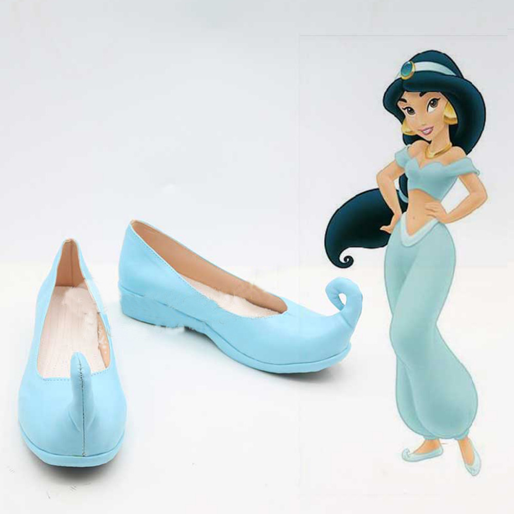 Aladdin Jasmine Cosplay Shoes Boots Blue Flat Shoes Halloween Carnival Cosplay Costume Accessories For Women