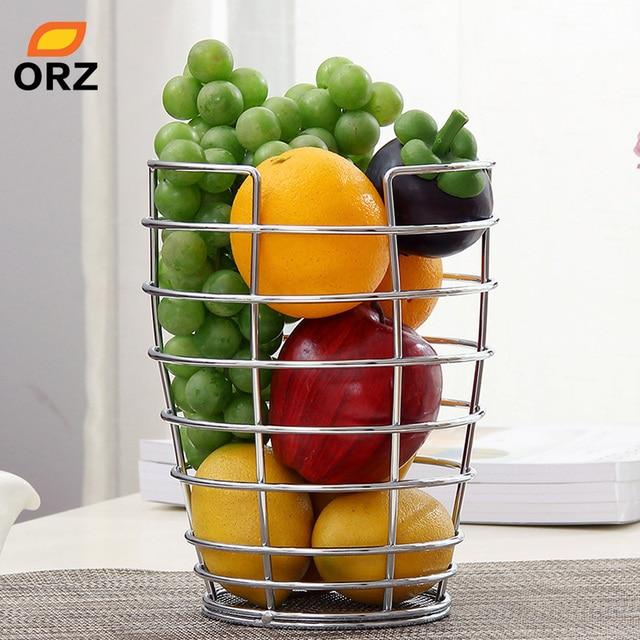 ORZ Fruit Bowl Basket Kitchen Food Container Chrome Finish Fruit Vegetable  Organizer Holder Home Decoration Storage