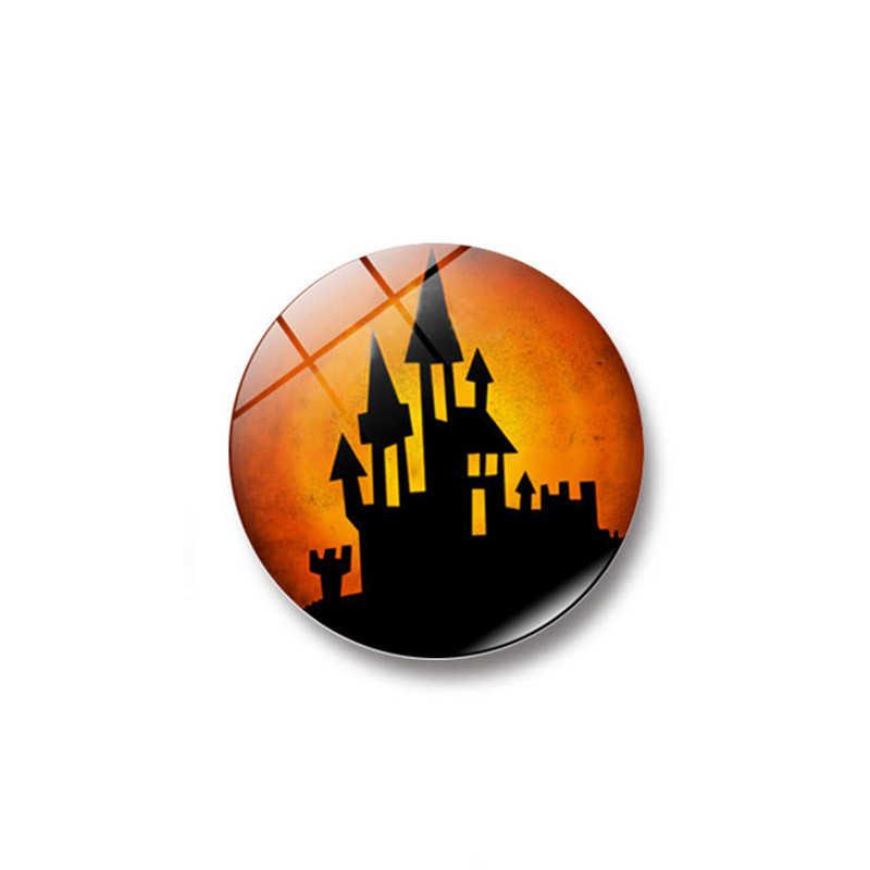 2017 Nuevo feliz Halloween bruja calabaza murciélago cristal pegamento signo patrón Domo vidrio imán 1PC nevera soporte de mensaje accesorios