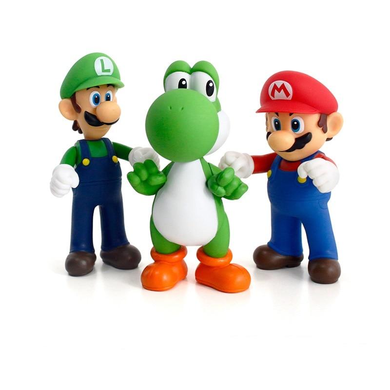 3D Super Mario Figurines Luigi Mario Yoshi Miniatures Action Figure Collection Model Toys Dolls 10-13cm for Kids birthday Gifts