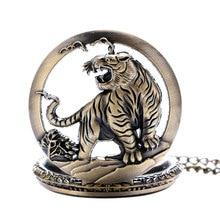 Xmas Gift Bronze Tiger Hollow Quartz Pocket Watch Clock Necklace Pendant Womens Men GIfts Reloj De Bolsillo Dropshipping P903