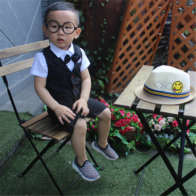 Baby Boy Set 2017 Summer New Arrives Formal Wear Thin Section Soft Short Shirt+plaid Waistcoat and Shorts Kids 3PC JJ010