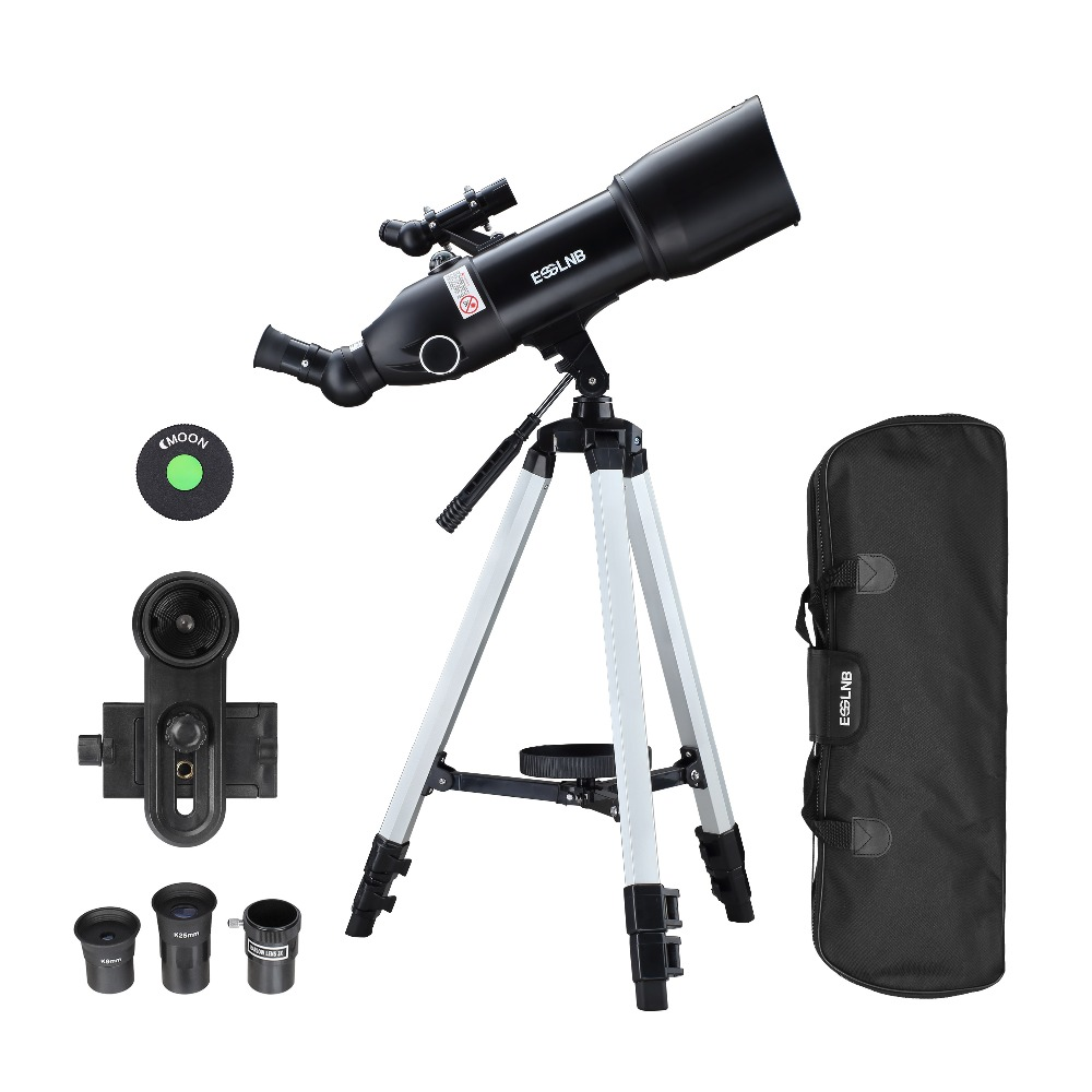 80mm Lens Astronomical Telescope with High Tripod Outdoor Terrestrial Space Moon Watching Monocular 400mm Focal 16