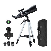 80mm Lens Astronomical Telescope with High Tripod Outdoor Terrestrial Space Moon Watching Monocular 400mm Focal 16 133X with Bag