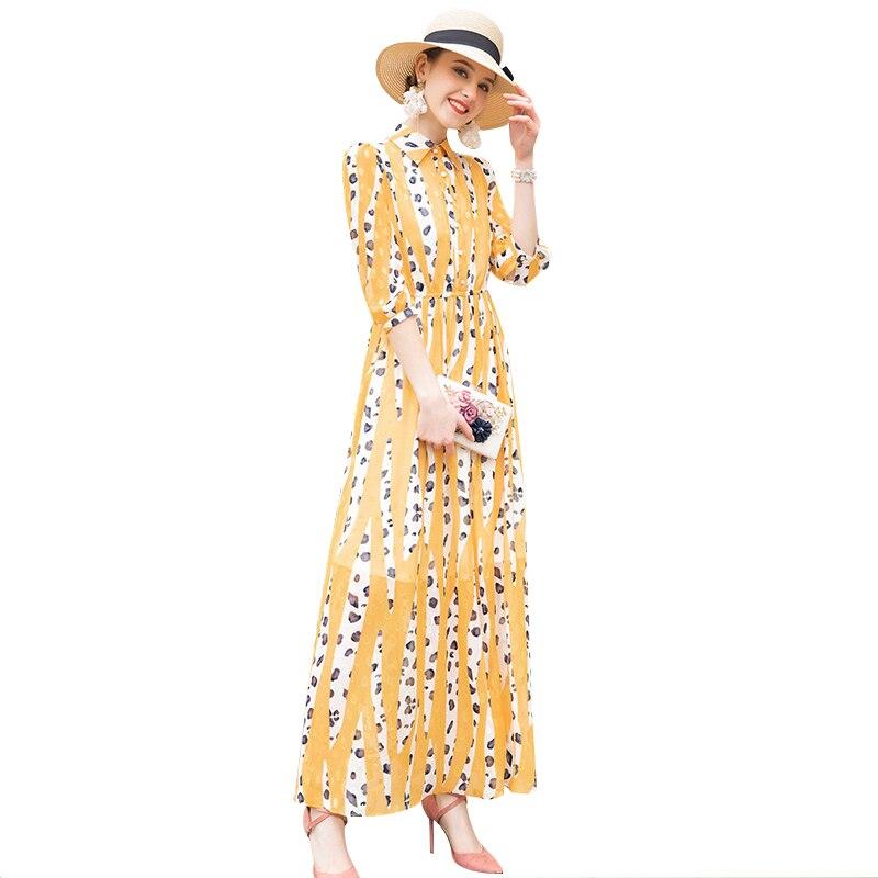 Summer Chiffon Office Lady Leopard Printed Dress Buttons Turn down Collar Designer Yellow Dress Women DZ2149
