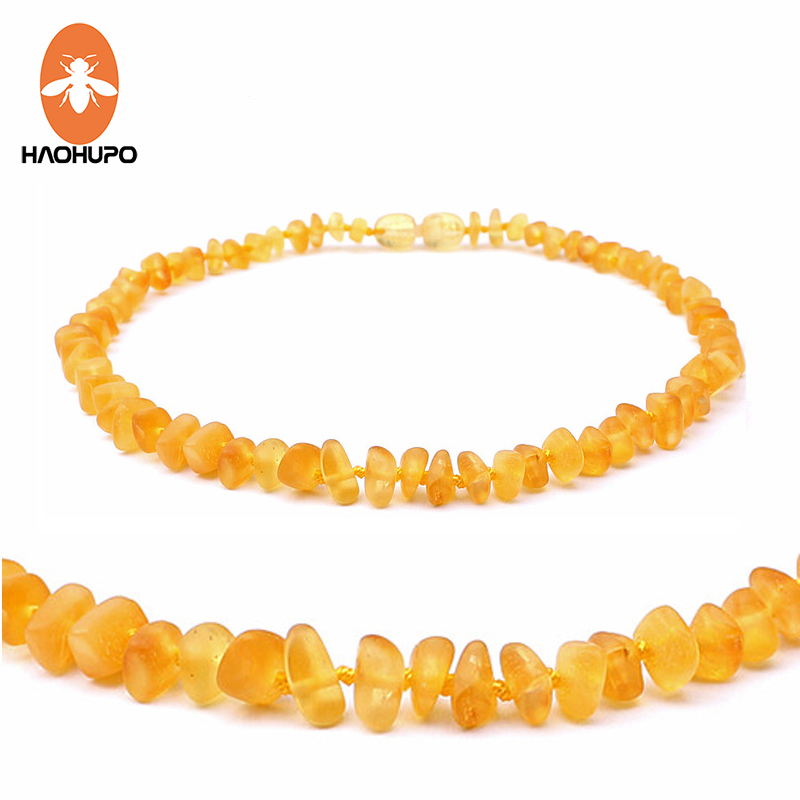 HAOHUPO Honey Raw Amber Teathing Ожерелье Baby Teething Relief Custom Baltic Amber Unpolished Handmade Amber Beads Jewelry