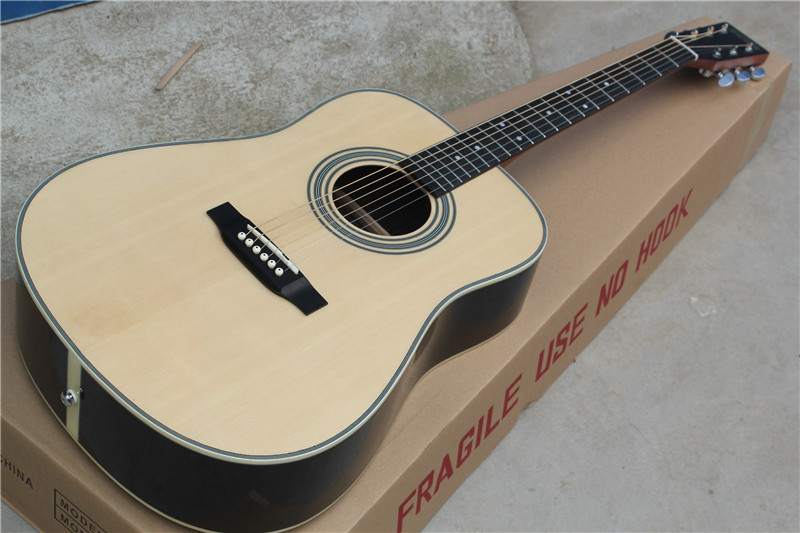 free shipping China Custom Guitar High Quality Solid Spruce Top Folk Acoustic Guitar  1117 free shipping china top 1 brand flamingo