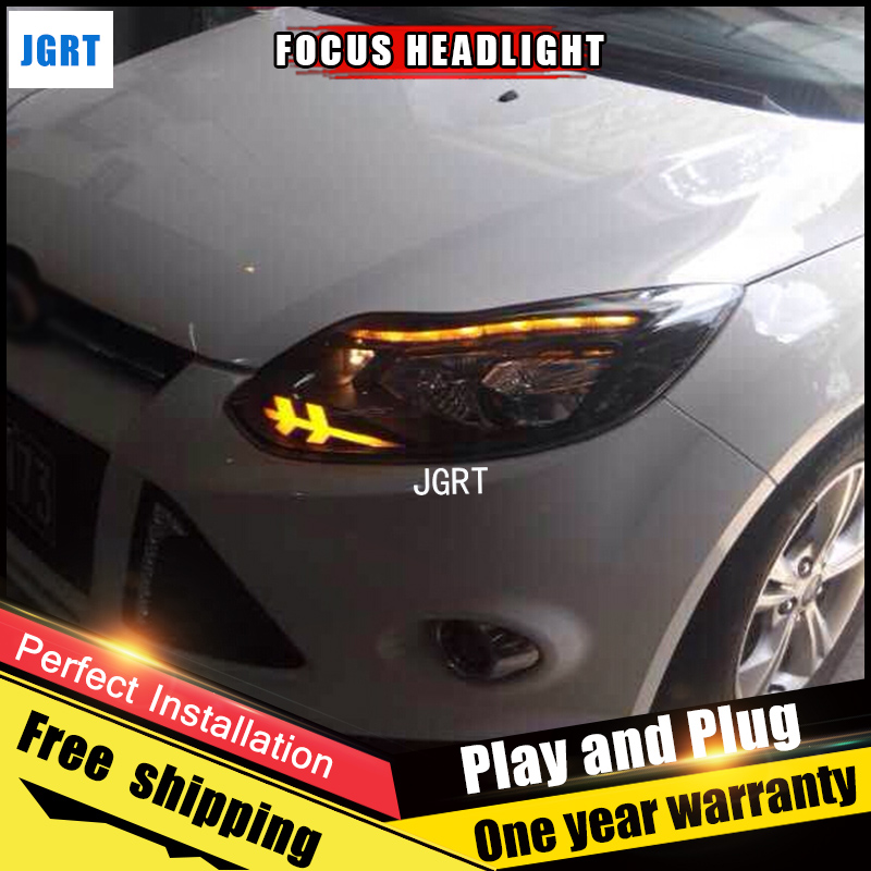 2PCS Car Style LED headlights for Ford Focus 2012-2014 for Focus head lamp LED DRL Lens Double Beam H7 HID Xenon bi xenon lens 2pcs car style led headlights for vw polo 2011 2017 for vw polo head lamp lens double beam h7 hid xenon bi xenon lens