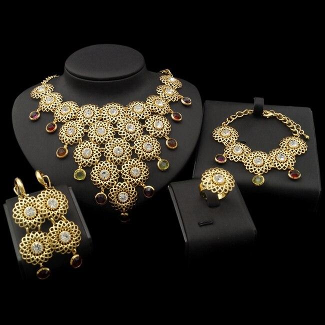 YULAILI haute qualité 2017 nouveau Design rond en alliage de cuivre femmes Dubai ensembles de bijoux
