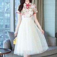 La MaxPa Chinese Style Women Dress Patchwork Short Sleeve Summer Dress Women 2019 Embroidery High Waist Lace White Dress Elegant