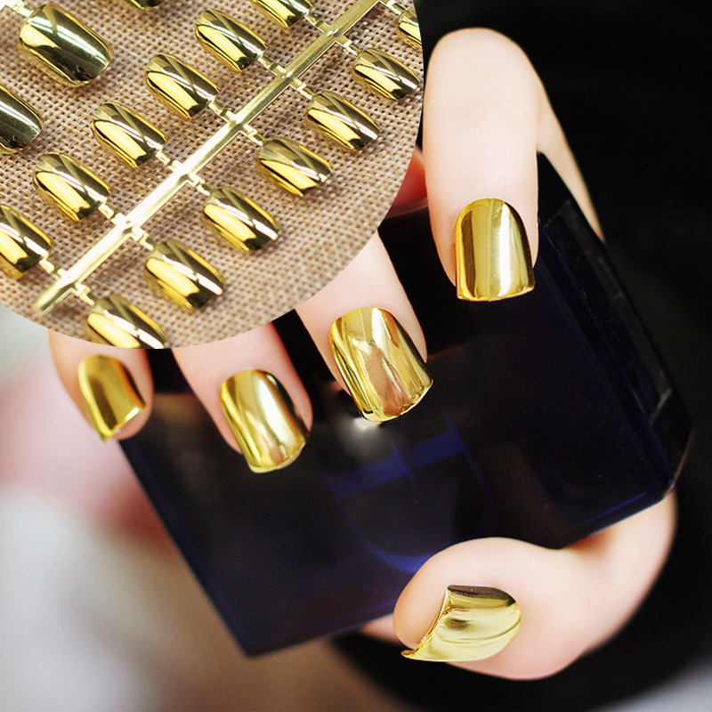 Metal Mirror Flat False Fake Nails Gold Color Fashion Artificial ...