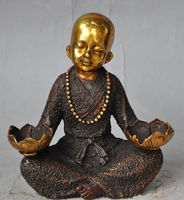 china buddhism bronze gilt Buddhist monk buddha statue lotus flower Candlesticks