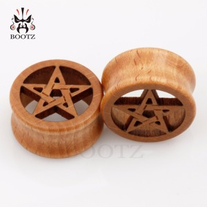 Image 3 - new fashion piercing body jewelry star logo wood plugs flesh ear tunnels 10 25mm
