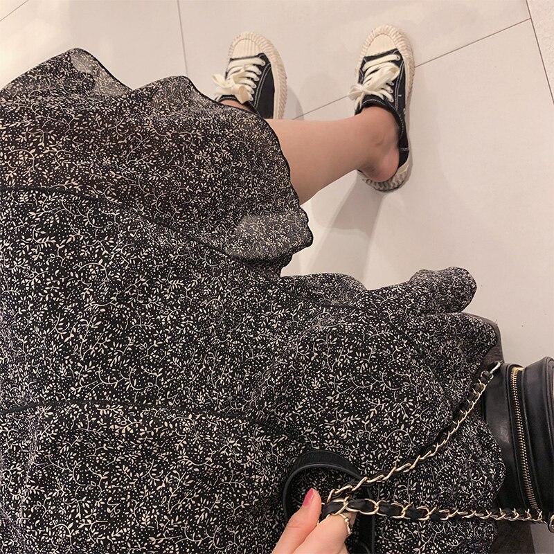 Noir Pour À Robe Mishow Fleurie Longues Mousseline Femme 2019 Manches Mx19a1479 Femmes Décontracté Coréen En Midi ZAvpxqO