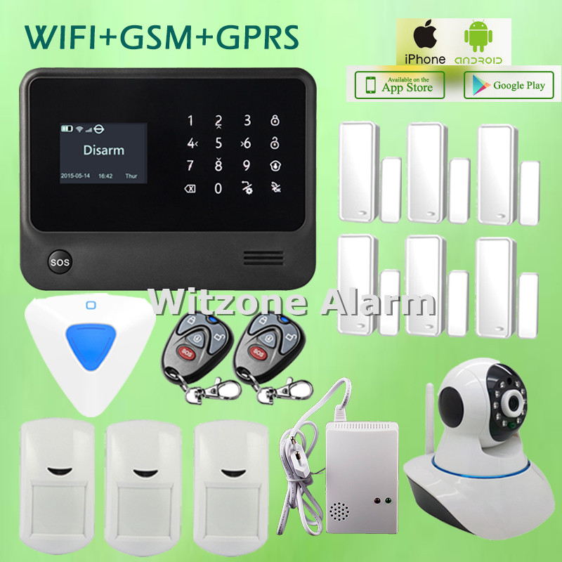 Touchkeypad LCD Display 5 Language Word Menu Switchable IOS Android APP Control WIFI GSM Alarm System with WIFI IP Camera 2 4g wifi gsm alarm system compatible gprs ios android app control touch keyboard support 5 language switch camera alarm