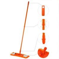 NEW Extendable Microfibre Mop Cleaner Sweeper Wooden Laminate Tile Floor Wet Dry Orange