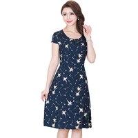 Summer Print Women Dress Vintage Elegant Plus Size Tie Dress 2018 New Female Short Sleeve Thin