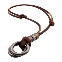 Fashion Men Retro Leather Cord Necklace Double Circle Pendant Jewelry Gift