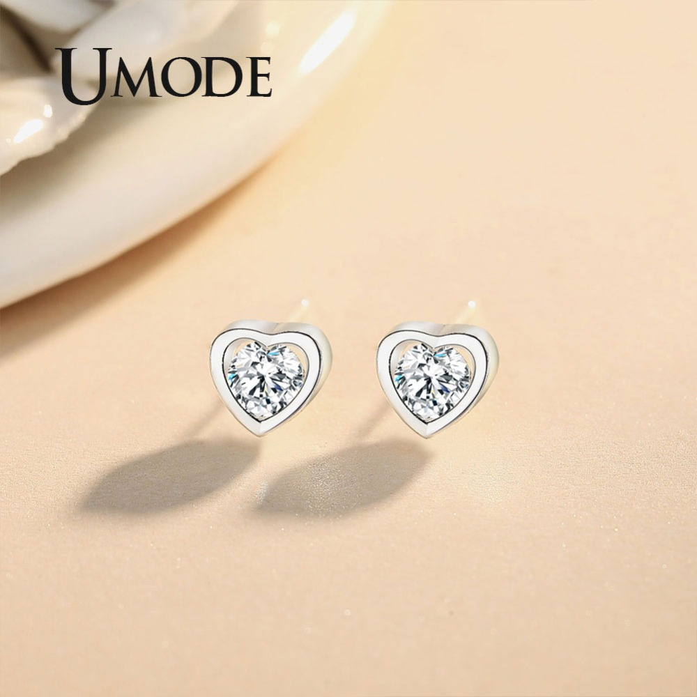 UMODE Women Small Cute Heart Studs Earrings Crystal Cubic Zirconia Korean Fashion Jewelry bisuteria de moda oorbellen UE0455