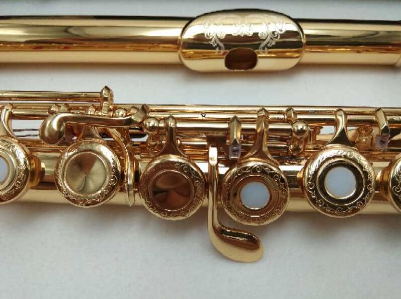 SUZUKI Intermediário Banhado A Ouro Bocal Floral Gravado Projetos C Chave Flauta Profissional Flautas 17 Buracos Buracos Abertos
