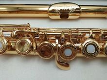 SUZUKI промежуточный позолоченный Флейта Professional выгравированы цветочный мундштук конструкции C Ключ флейты 17 Отверстия открытые отверстия