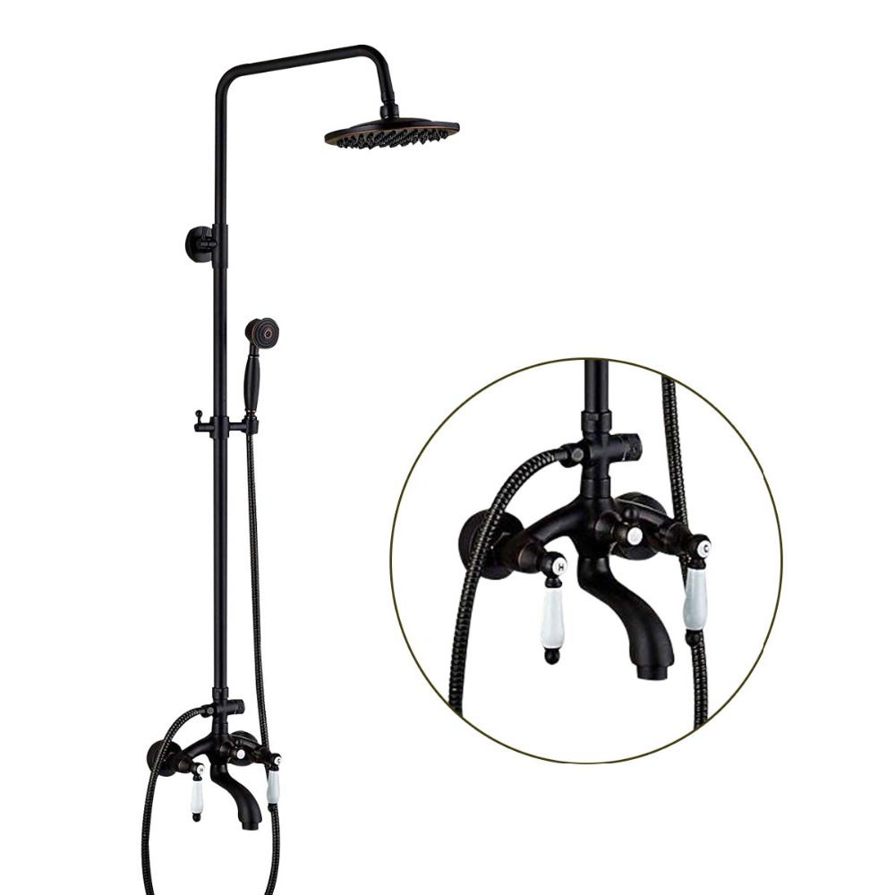 Wall Mounted Rainfall Shower Head Faucets Ceramic Handles Valve Mixer Tap Tub Spouts Oil Rubbed Bronze Shower Sprayer